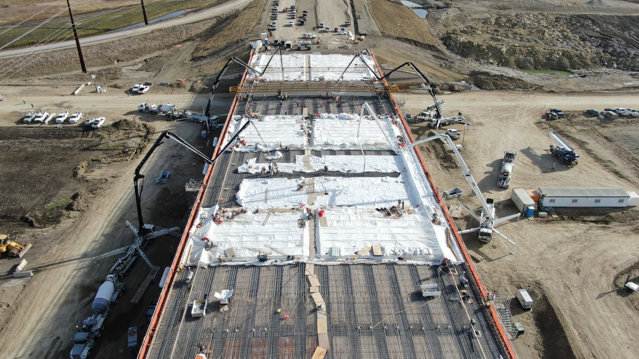 Dynamic Concrete Pumping starting to pump concrete at the SW Calgary Ring Road project