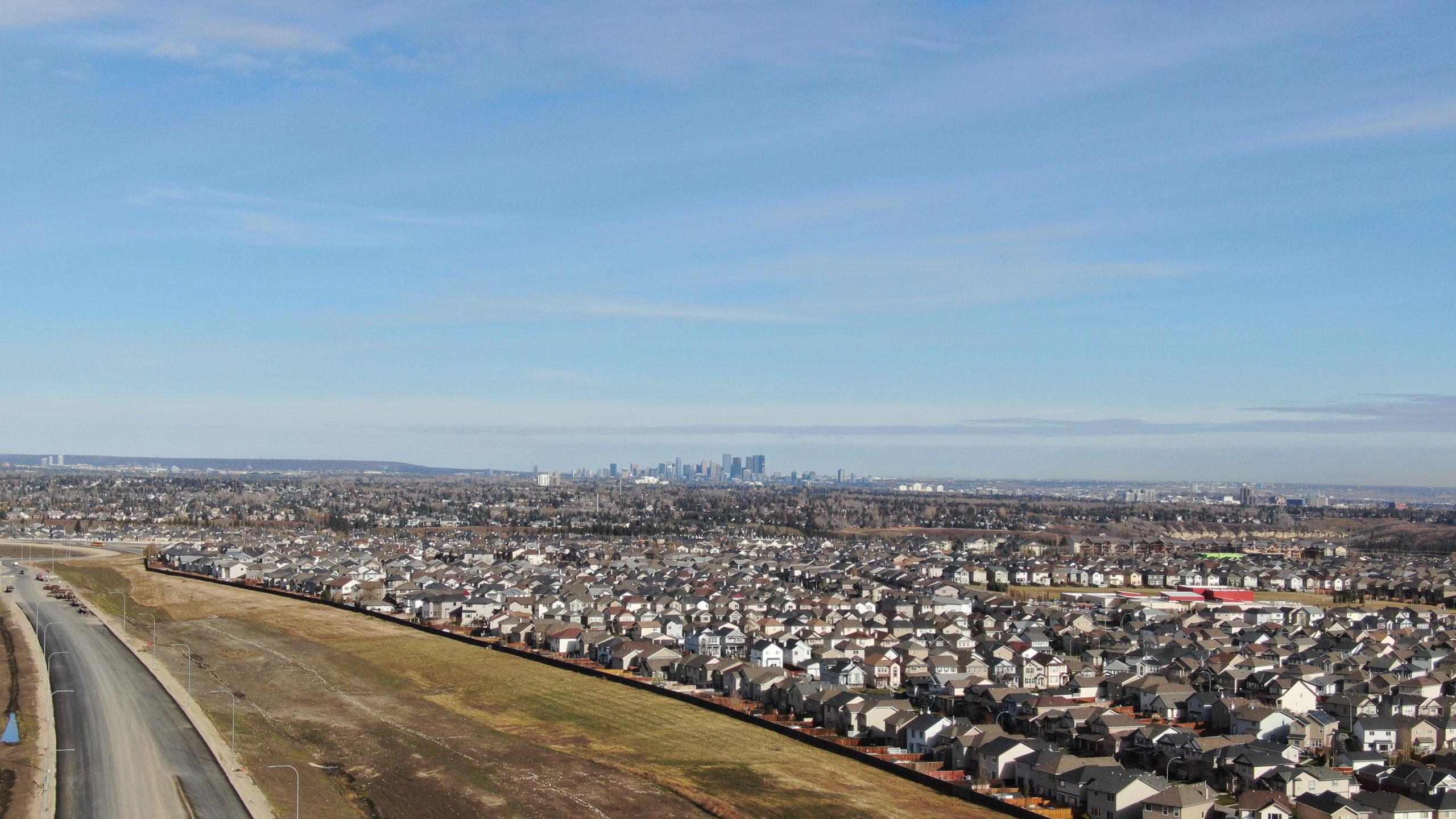 view of suburbs outside of Calgary Alberta