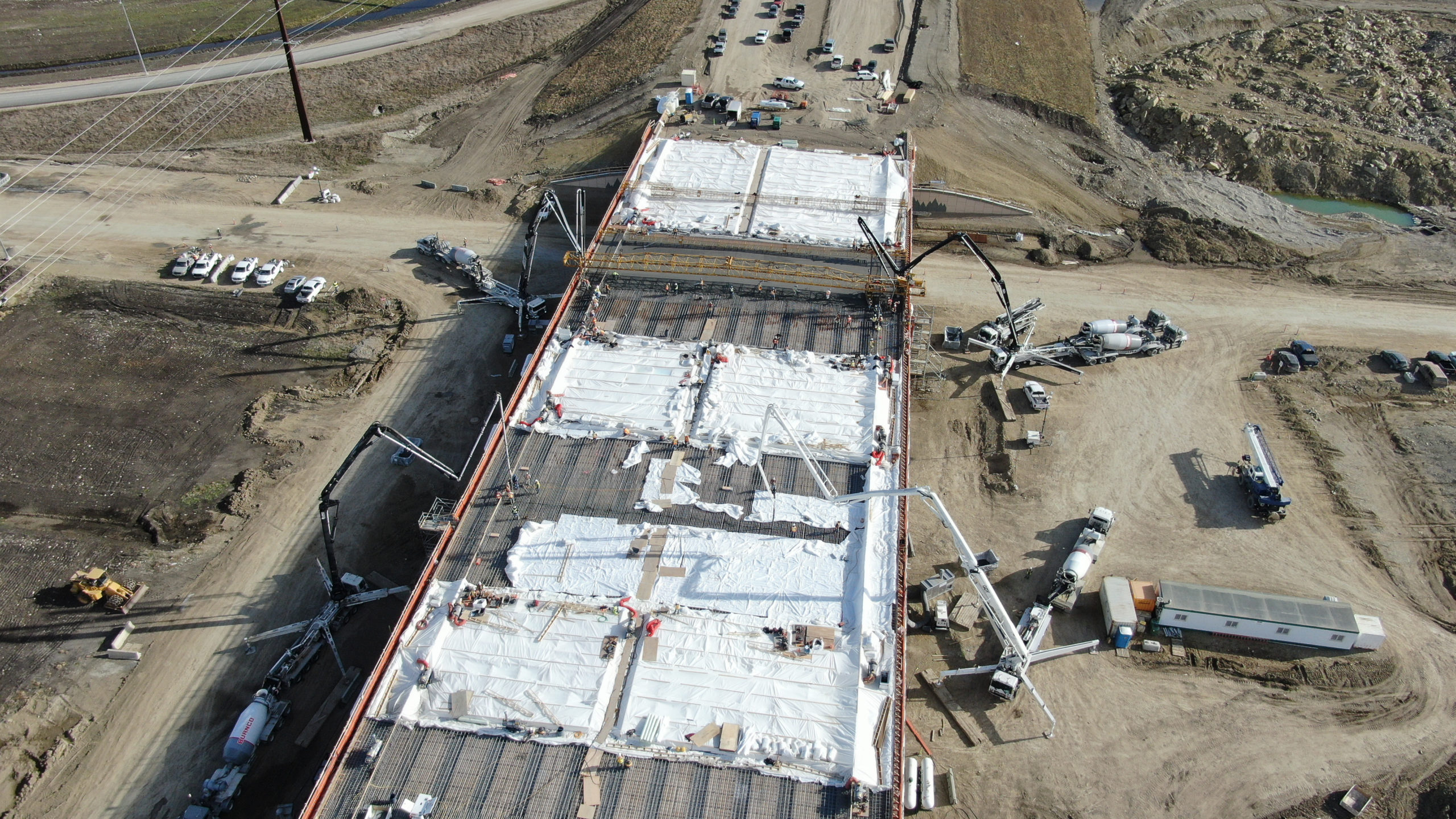 Dynamic Concrete Pumping team working on the SW Calgary Ring Road project