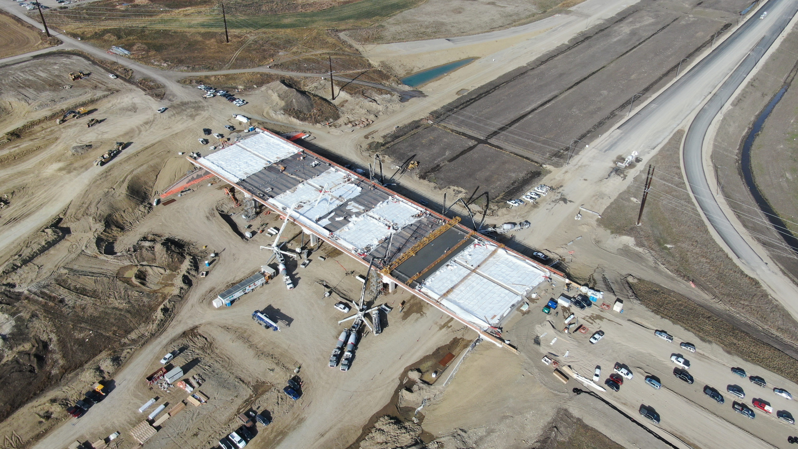 view of Dynamic Concrete Pumping at the SW Calgary Ring Road project from above