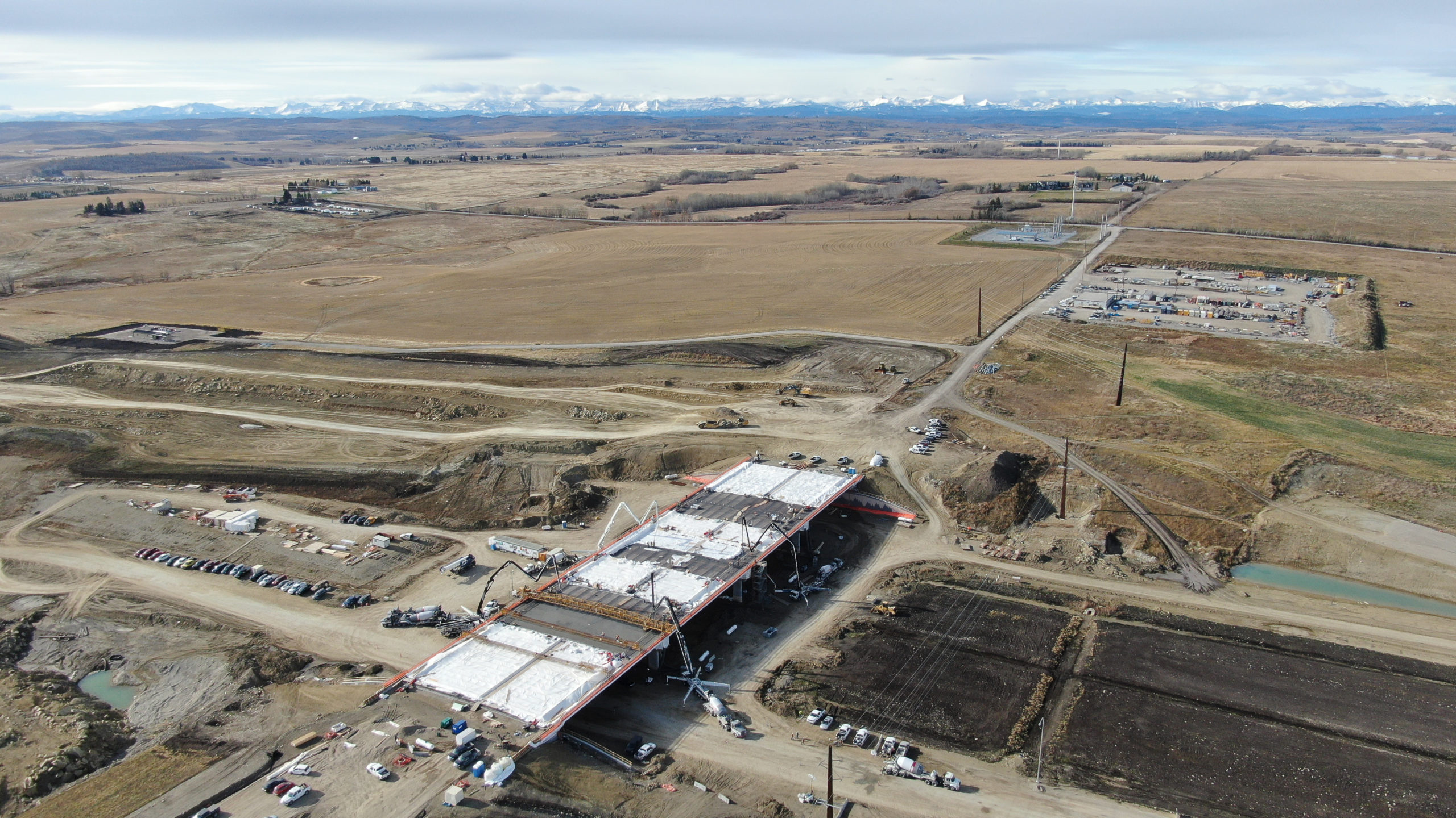 aerial view of Dynamic Concrete Pumping working on the SW Calgary Ring Road project