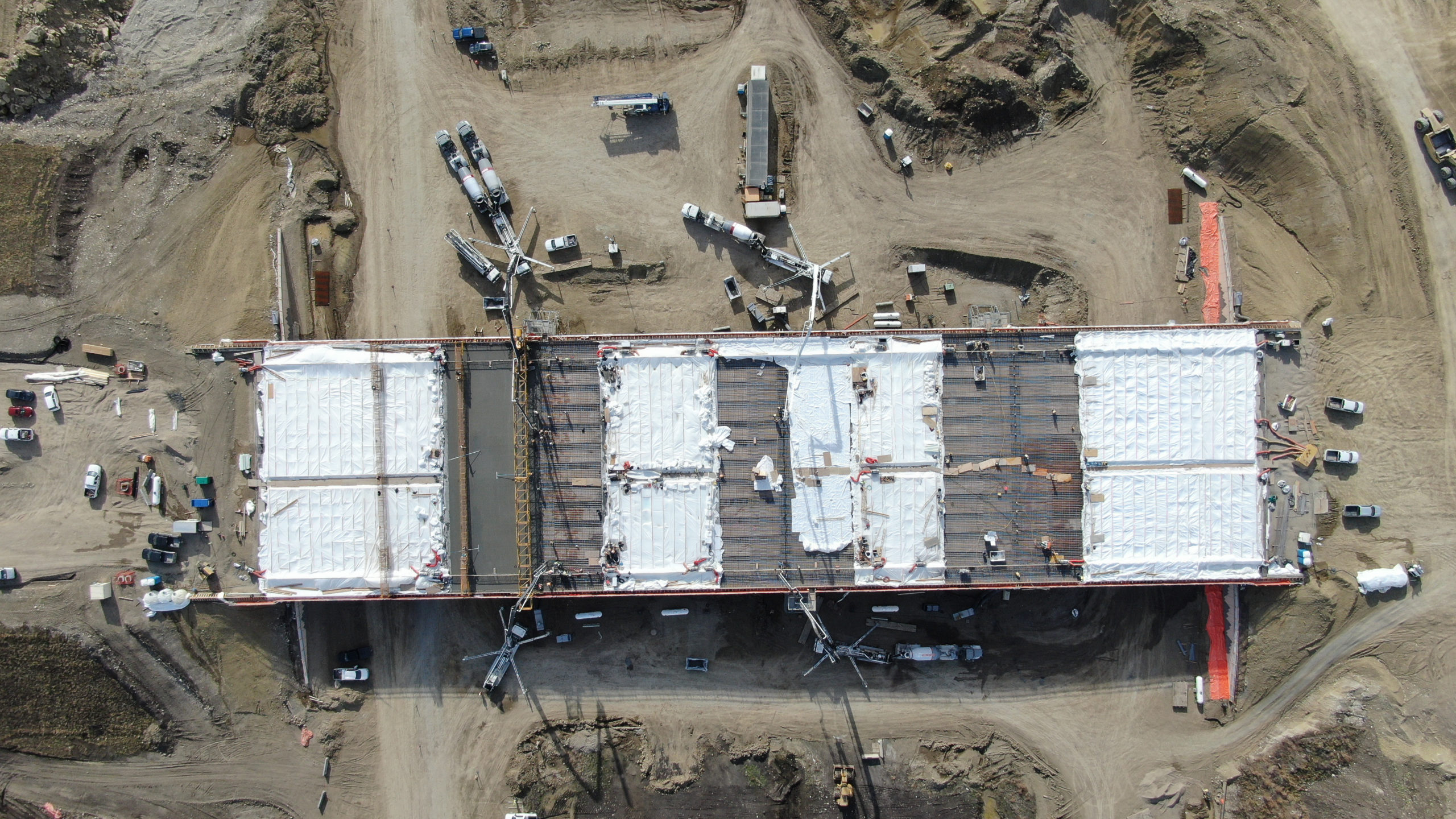 view of the top of the SW Calgary Ring Road project while Dynamic Concrete Pumping is working